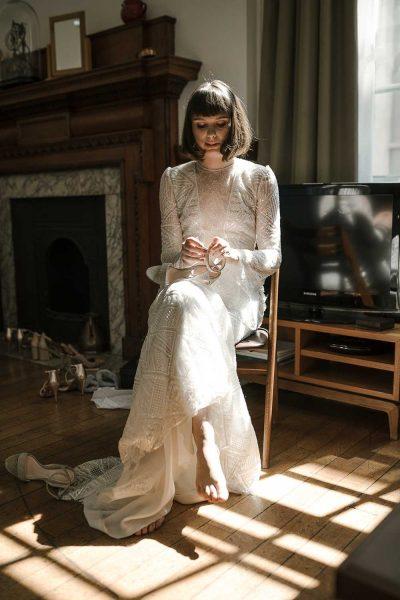 Bride in Yolan Cris Sabina Dress at the Town Hall Hotel Wedding