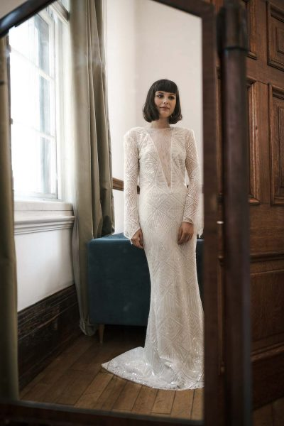 Bride in Yolan Cris Sabina Dress at the Town Hall Hotel Wedding
