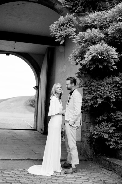 film wedding photography of bride in Les Heroines wedding dress